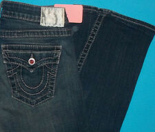 28 x 33 in.  PRE-Owned TRUE RELIGION $297 PINK DISCO JOEY Crystal FLARE JEANS