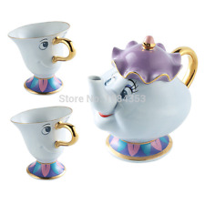 [1 Pot +2 Cups] Beauty and The Beast Tea Set Mrs Potts Teapot Chip Cup Xmas Gift