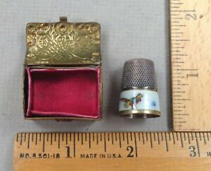 BRASS THIMBLE BOX Antique SEWING ITEM, Treasure Chest Shape + Enameled Thimble