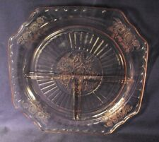Mayfair pink grill plate pattern open rose Anchor Hocking deprression glass