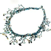 WILD TWIGGY TURQUOISE PEACOCK SEED BEAD CHOKER necklace