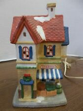 christmas snow village Grocery Store building house lighted decoration market