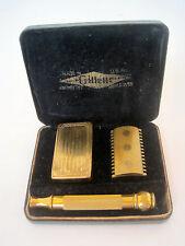 """VTG 1920s GILLETTE~OLD TYPE SET~GOLD """"BALL END"""" SAFETY RAZOR CASE SET BLADE BOX"""