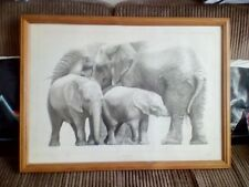 extremely rare Gary Hodges African Elephants 184/850 excellent condition.signed.
