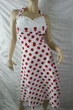 STOP STARING! white red polka dot retro vintage 1950's halter dress size XL BNWT