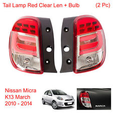 Tail Light Lamp Red Clear Len + Bulb 2 Pc Fit Nissan Micra K13 March 2010 - 2014