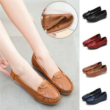 Women Comfy Loafers Real Leather Work Pumps Non-Slip School Boat Shoes Plus Size