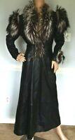 JITROIS Leather Fur Trim Black Long Dress Jacket Coat FR 36 38 IT 40 42 / US 4 6