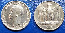 MONETA 5 LIRE ARGENTO 1930 REGNO ITALIA SILVER AQUILINO AQUILOTTO