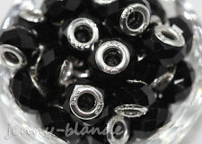 5Pcs Black Glass Murano Big Hole Lampwork Loose Spacer Bead European Bracelet