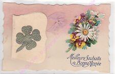 CPA DECOUPIS  Meilleurs souhaits de bonne année message ruban rose fleurs ca1919