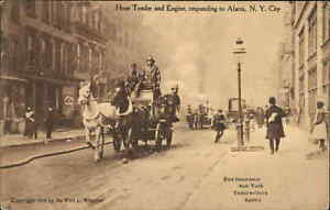 FDNY Fire Fighting New York City Horse Drawn Engine 1905 Rotograph Postcard