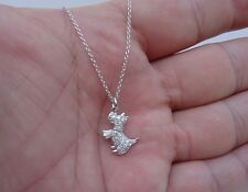 925 STERLING SILVER DESIGNERS DOGGY PENDANT NECKLACE W/ .50 CT DIAMONDS
