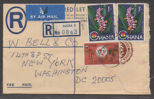*Ghana Registered Airmail Cover #57(2), 205 to Washington DC, 1965