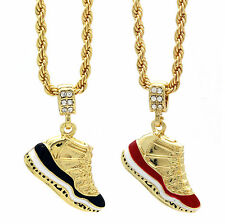 "Men Gold Plated Hip Hop Retro 11 ""Concord"" & ""Cherry"" Pendant 4mm 24"" Rope Chain"