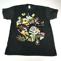 Quiksilver Men's Sugar Skull And Motorcycle T-shirt Size Large #d246