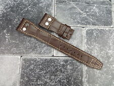 22mm IWC Brown Gator Grain Leather Strap watch Band with Rivet BIG PILOT Beige
