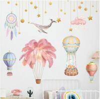 Wall Stickers hot air balloon feather dreamcatcher star whale decor Nursery kids