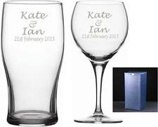 Personalised his and hers Wine & pint glass valentines day, wedding, anniversary