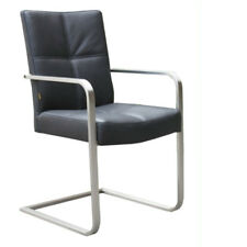SIX Freischwinger Armlehnstuhl Besucherstuhl Edelstahl Lederstuhl No.104 schwarz
