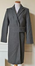 NWT EXPRESS Charcoal Gray Wool Trench Coat Long Sleeve Fully Lined 9/10 $148