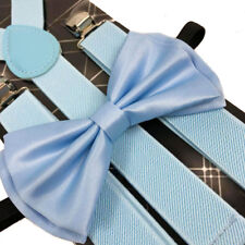 Awesome Sky Blue Wedding Accessories Adjustable Bow Tie & Suspenders
