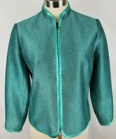 Laura Ashley Petite Womens Size PM Teal Shimmer Textured Lined Zip up Jacket