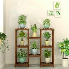 8 Tiers Strong Wooden Flower Pots Stand Raised Indoor Outdoor Garden Plant Rack