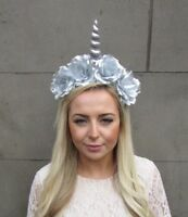 Silver Unicorn Horn Rose Flower Headpiece Headband Festival Hair Crown Boho 4905