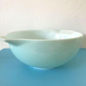 Vintage JAJ Pyrex Pale Duck Egg Blue Cinderella Carnival Bowl Lgth 10.75 inches