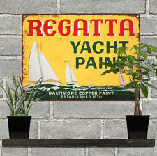 Regatta Yacht Boat Paint Advertising Baked Metal Repro Sign 9x12 60122