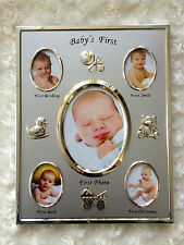 baby's first photo frame silver for both boys and girls