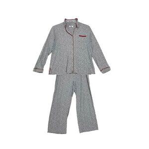 Celestial Dreams Pajamas Set PJ's Sz L Large Gray Floral Heavy Ctn Blend 2 Pcs