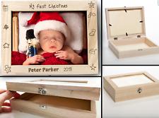 Photo Storage Box With Frame Wooden Personalised Anniversary Baby keepsake Gift