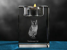Tonkinese Cat, crystal candlestick with cat, souvenir, Crystal Animals Ca