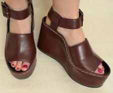 Celine Plain Sandal Burgundy Leather Wedge Shoes Sz 7 - Worn Once - Retail $1150