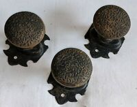 (3) ANTIQUE Vintage Stationary Extremely Decoritive Cast Iron & Steel Door Knobs