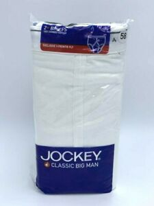 64 2 PK JOCKEY BIG MAN CLASSIC MIDWAY BRIEFS Y-FRONT FLY WHITE COTTON #1193 62