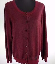 Talbots Women Sweater XL Maroon Metallic Cardigan Rhinestone Button Holiday Work