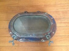 "Vtg Wilcox Crittenden 12"" Bronze Porthole Portlight Nautical 9"" Glass & Screen"