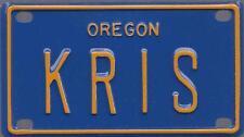 KRIS Blue Oregon - Mini License Plate - Name Tag - Bicycle Plate!
