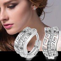 Fashion Women 925 Silver Wedding Engagement Drop Dangle Jewelry Hoop Earrings