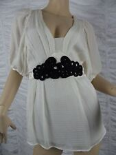 SEDUCE cream black rope waistband 100% silk dolman sleeve blouse top size 8 EUC