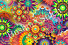 DMC Colorful Abstract Flowers Cross Stitch Pattern PDF 14 count