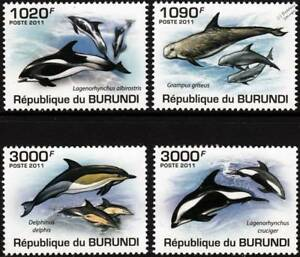 DOLPHINS White-Beaked/Risso's/Hourglass/Common Dolphin Stamp Set (2011 Burundi)