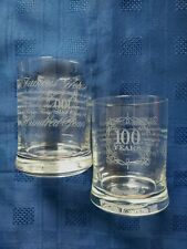 """2 EXCELLENT 100 YEARS 1896-1996 ETCHED """"THE FAMOUS GROUSE"""" WHISKY GLASSES"""