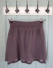 Anthropologie Knitted & Knotted Womens Small 4 6 Gray Wool Skirt Metallic Lace