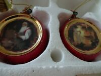 Norman Rockwell Christmas Classics Heirloom Porcelain Ornament Collection-Set 1