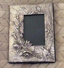 "Antique Sterling Silver 925 Picture Frame 4""x6"" Bird Flower Butterflies"