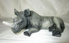 Rhinoceros Rhino Figurine Laying Statue by Castagna 1988 Italy